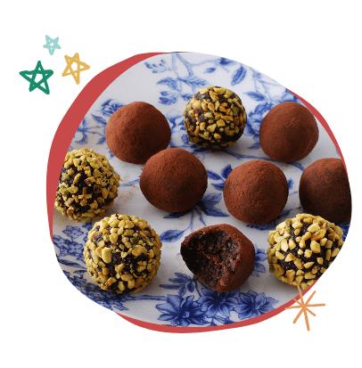 trufas de chocolate navideñas, recetas de dulce de Navidad