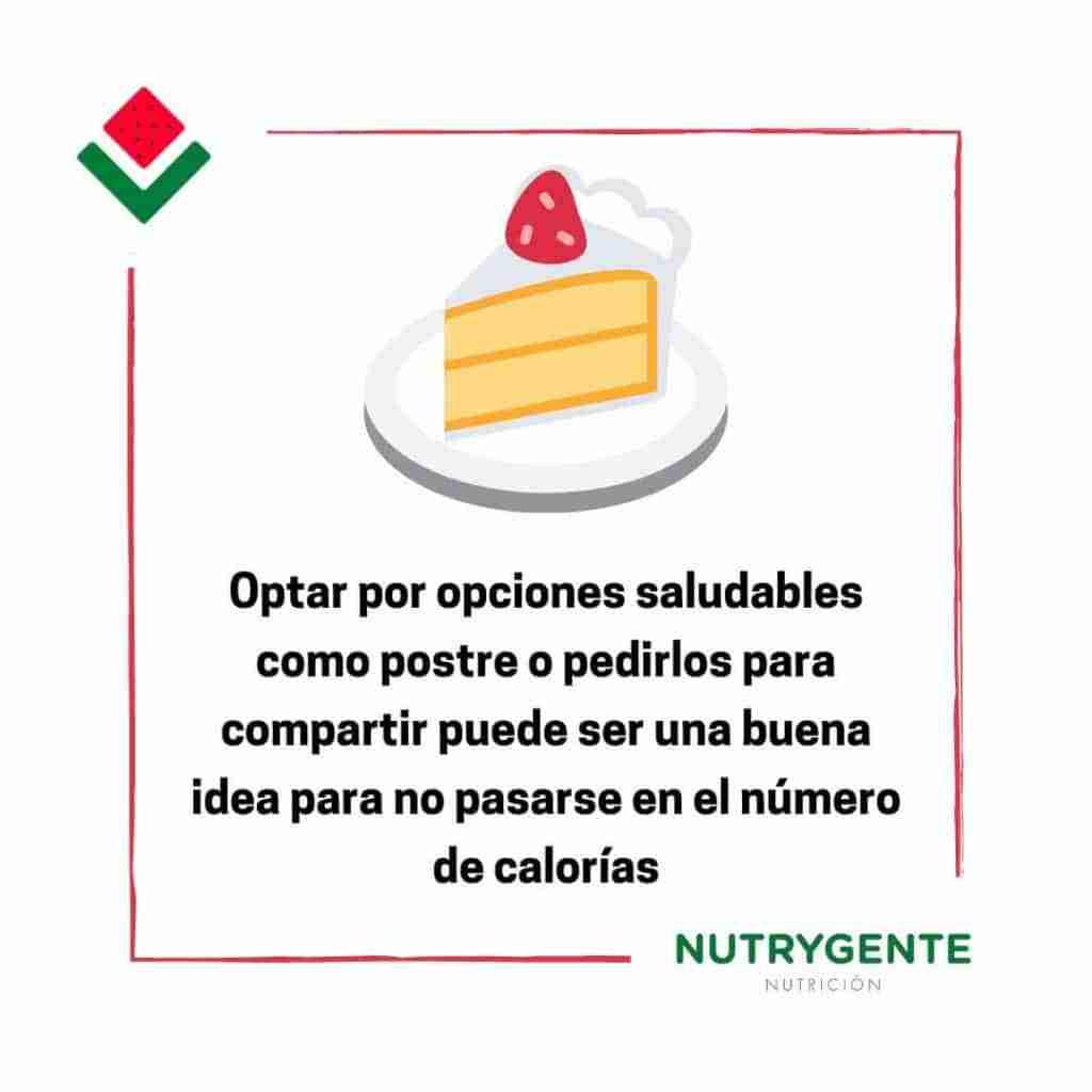 Debemos evitar los postres para no engordar al comer fuera de casa